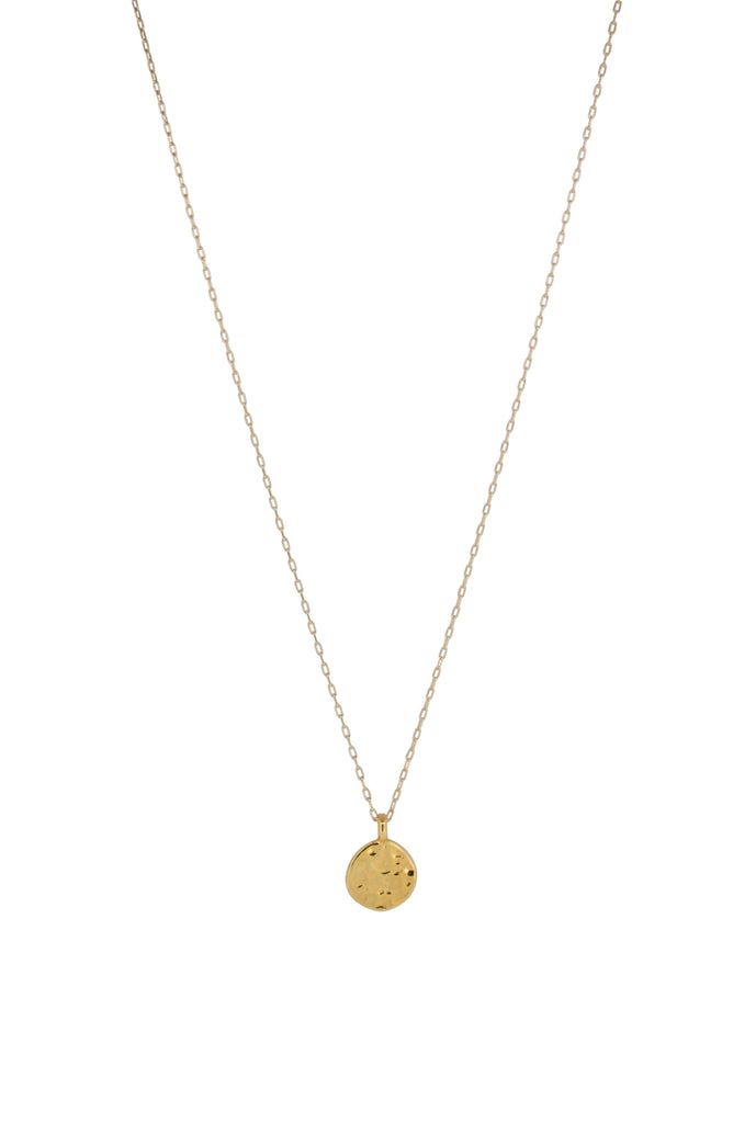 Miranda Ripple Hammered Gold Disc Necklace
