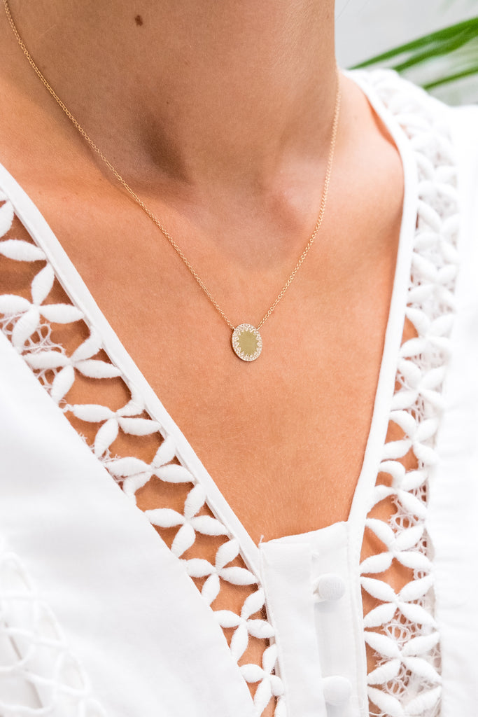 Ophelia circle diamond medallion necklace - KOOKII B