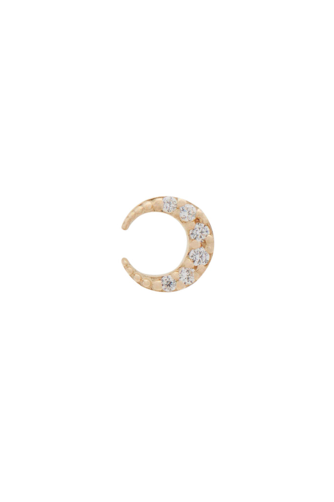 Remi moon crescent crystal gold stud earring