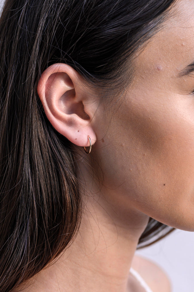 Rochelle mini endless gold hoop earrings