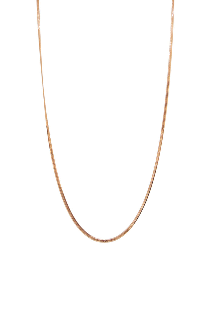 "Serena 18K Rose Gold Flat Snake 18"" Chain"