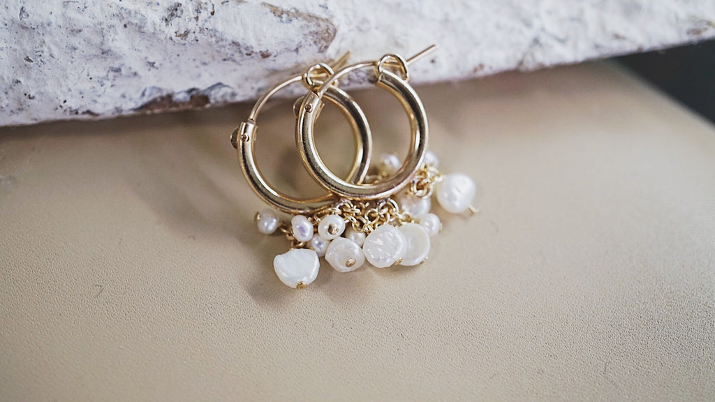 Snoe pearl cluster gold hoop earrings