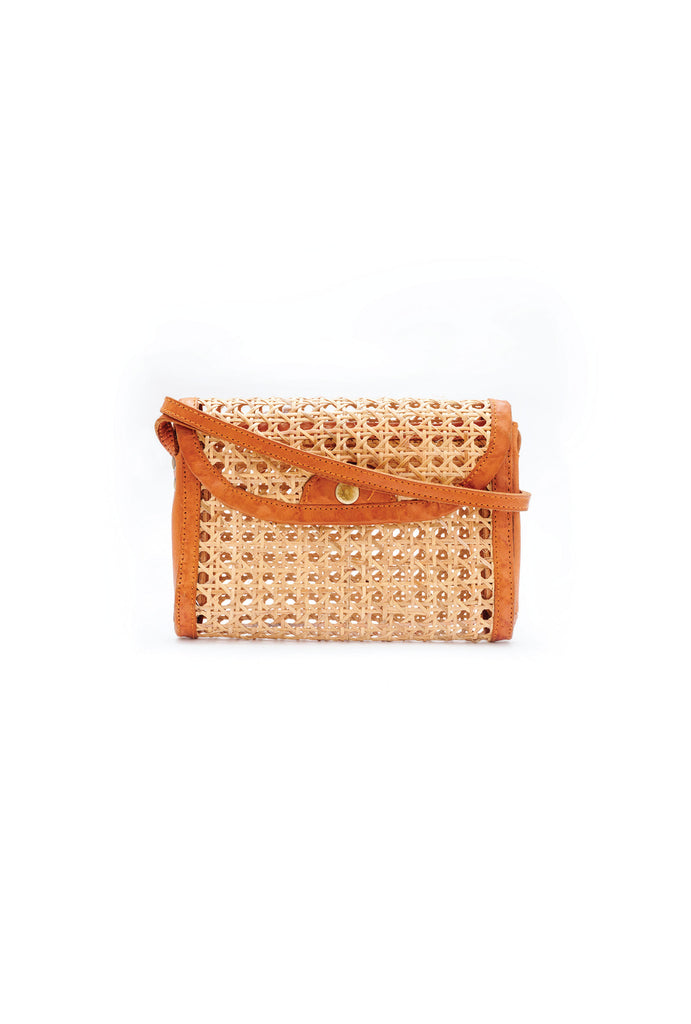 Woven Straw Leather Crossbody Pochette