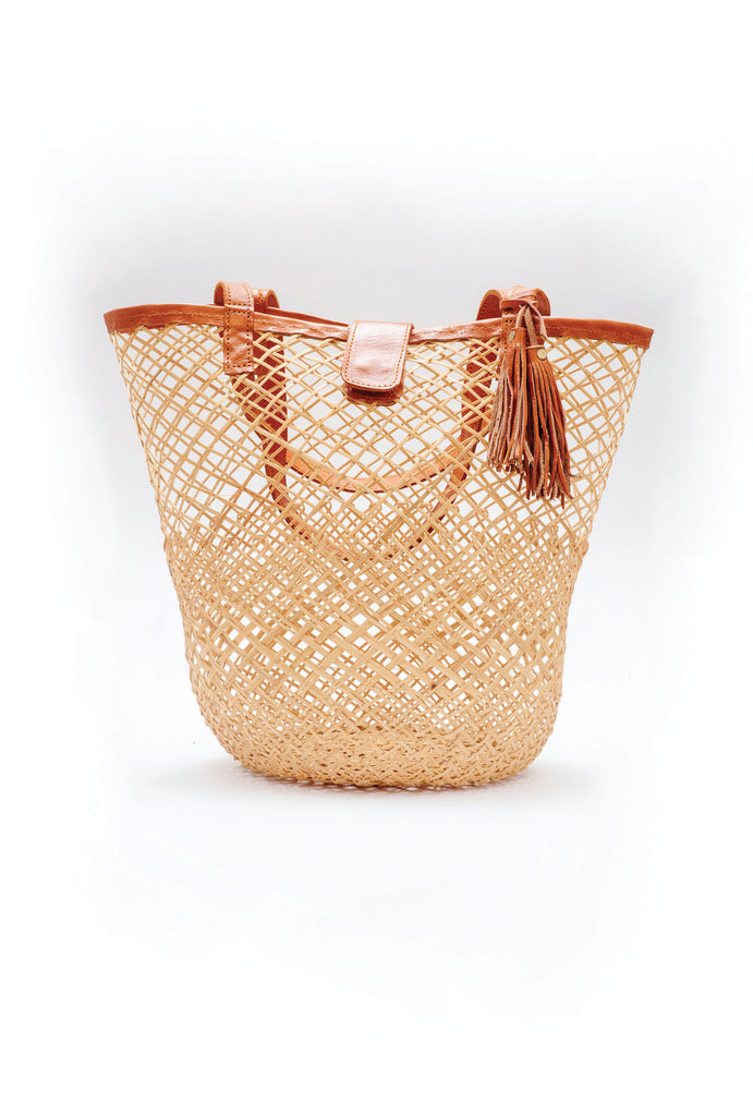 Woven cane Shopper Tote Beach Bag