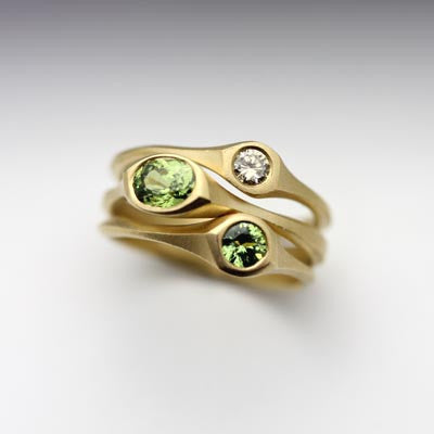 Champagne Diamond Enement Rings | Carved Three Stone Ring Element 7 Nine