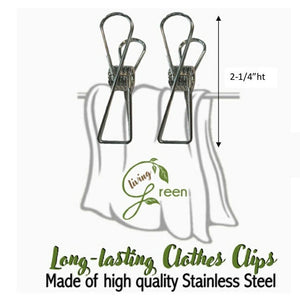LunchBreak Keeps - Living Green Stainless 10-Piece Laundry Clips Set (4530227839010)