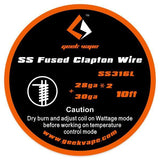 GeekVape Fused Clapton SS316L Wire 28GA*2/Paralleled + 30GA