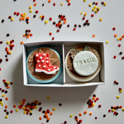 Personalised Autumnal Rainy Day Duo Oreo Gift Box