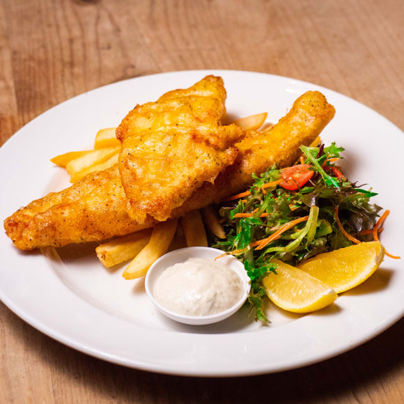 POPPY SEED BATTERED FISH & CHIPS