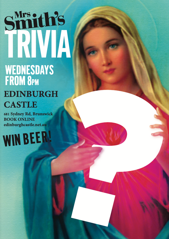 TRIVIA with Mrs Smith - Wednesday, 7 April 2021 - 8pm-10pm (Doors open at 7pm for Dinner Before)