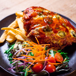 HOUSE CRUMBED FREE RANGE CHICKEN PARMA - HOT & SPICY (GF)