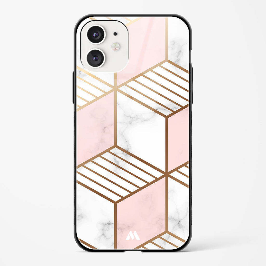Marble Hexagons Gold and Pink Glass Case Phone Cover