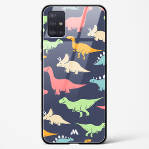 Happy Go Lucky Dinosaurs Glass Case Phone Cover