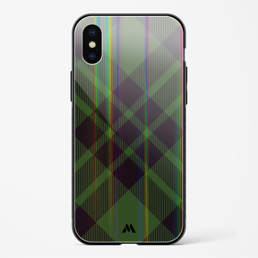 Green Plaid Checks Holographic Glass Case Phone Cover