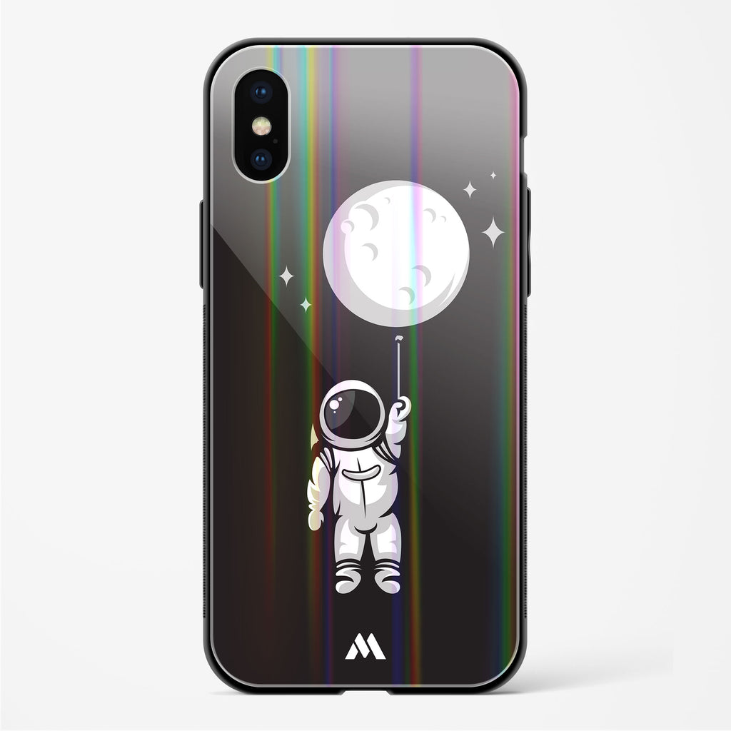 Moon Balloon Holographic Glass Case Phone Cover