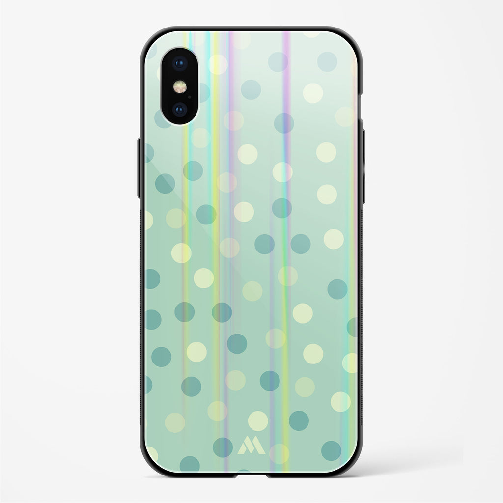 Polka Dots in Green Holographic Glass Case Phone Cover