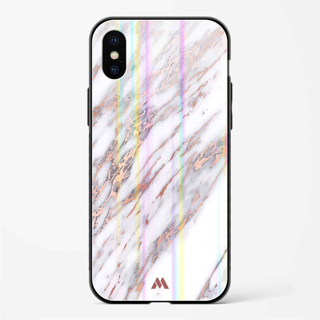 White Azulia Marble Holographic Glass Case Phone Cover