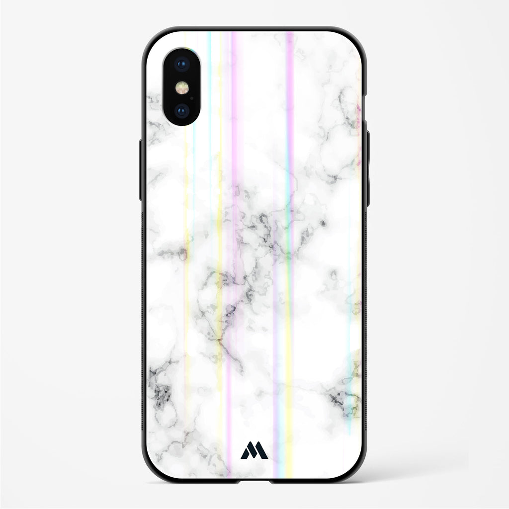 Bleached Bone Marble Holographic Glass Case Phone Cover