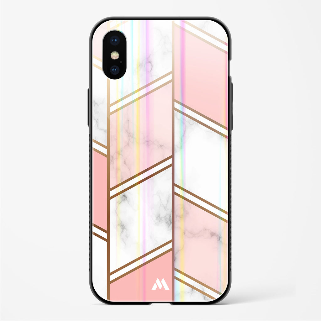 Marble Columns Gold and Pink Holographic Glass Case Phone Cover