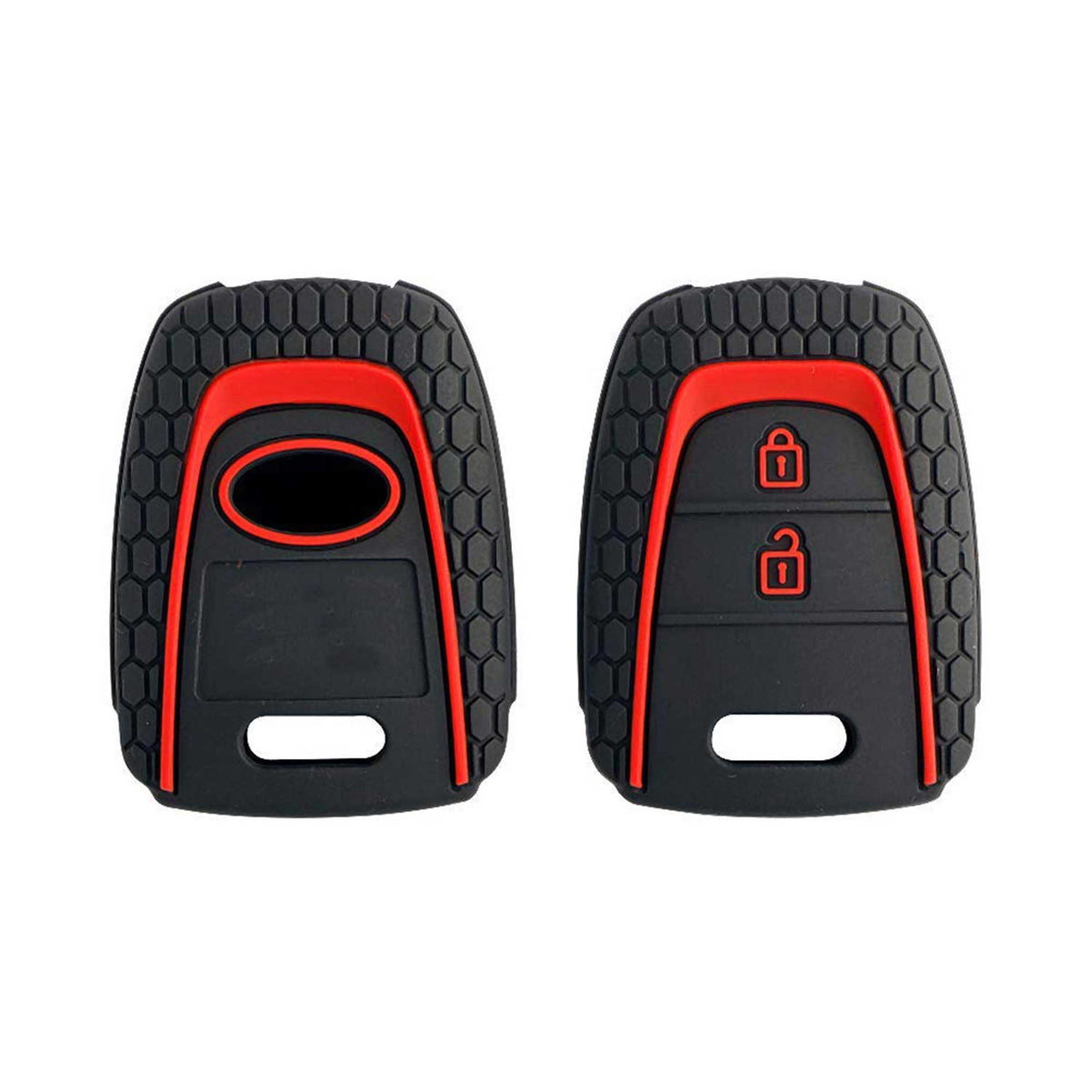 Hyundai Eon (Non-Flip Key) - Black & Red Premium Silicone Key Cover