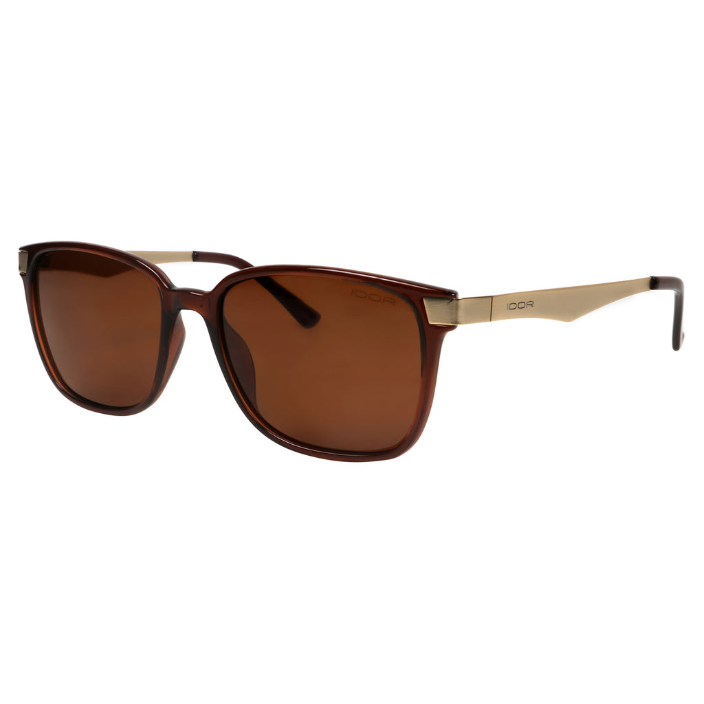 Desert Storm Wayfarers - Unisex Rectangular Brown-Gold Metal Sunglasses (ID5004 C1)