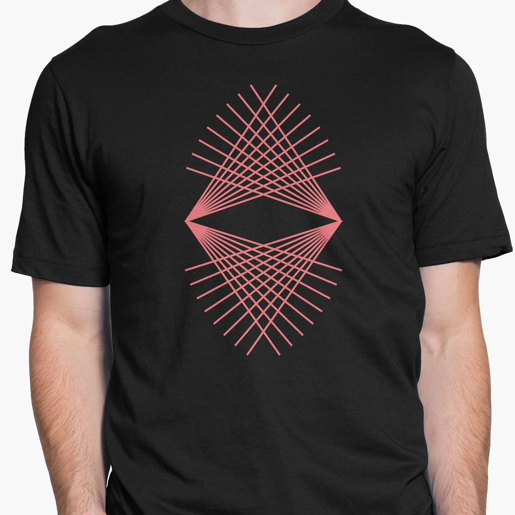 Geometric Refracted Lines Round-Neck Unisex T-Shirt