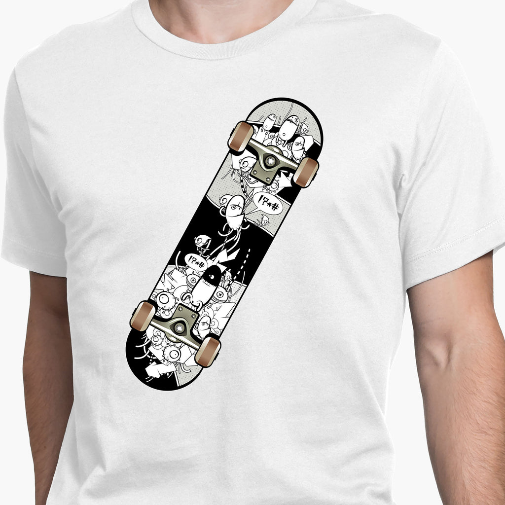 Graffiti Filled Skateboard Round-Neck Unisex T-Shirt