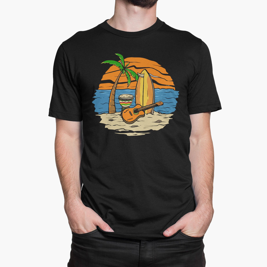 Strumming on my Island Round-Neck Unisex T-Shirt