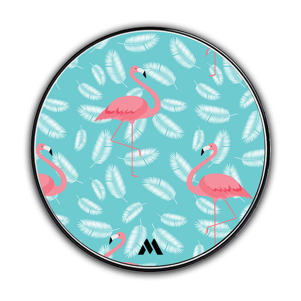 Flamingo Feathers on Teal Designer Wireless Charger Pro