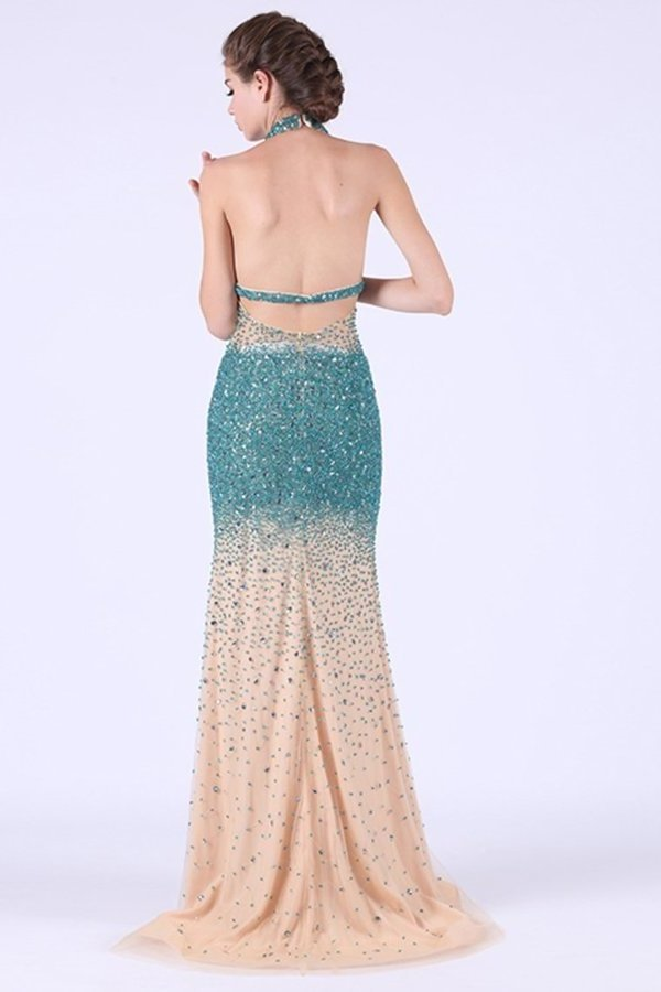 2020 Sexy Open Back Halter Tulle With Beading PNR4NAZJ