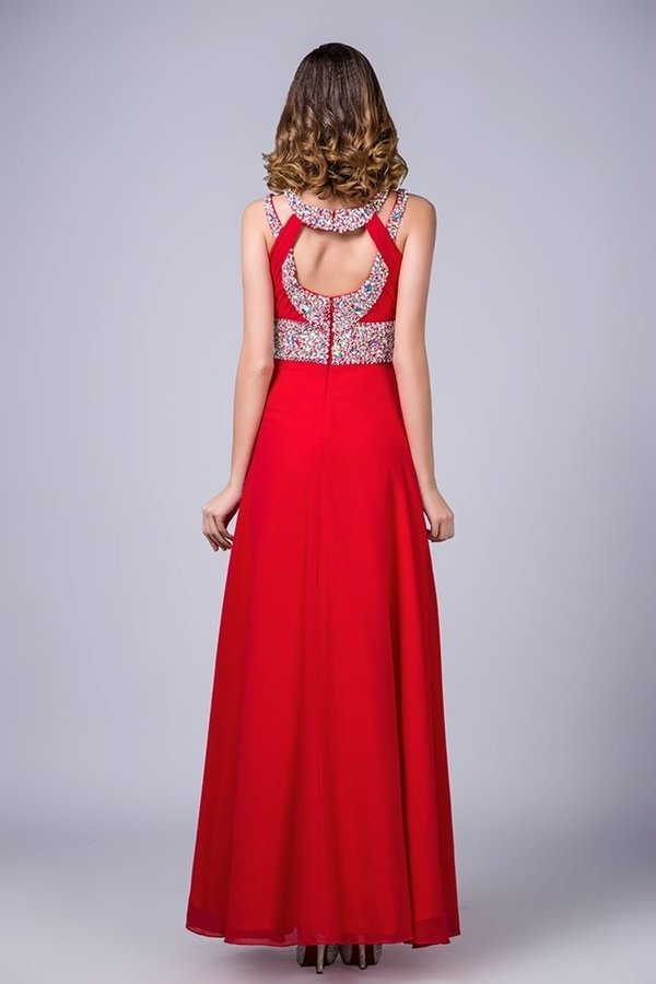 2020 Scoop Prom Dresses A Line Sweep/Brush Red PKPTZ1ZG