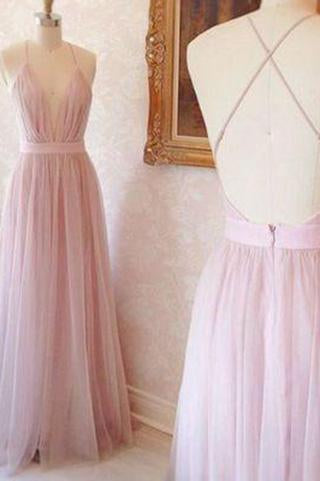 Simple A-line V-neck Long Pink Prom Dress with Criss Cross Back Prom Dresses