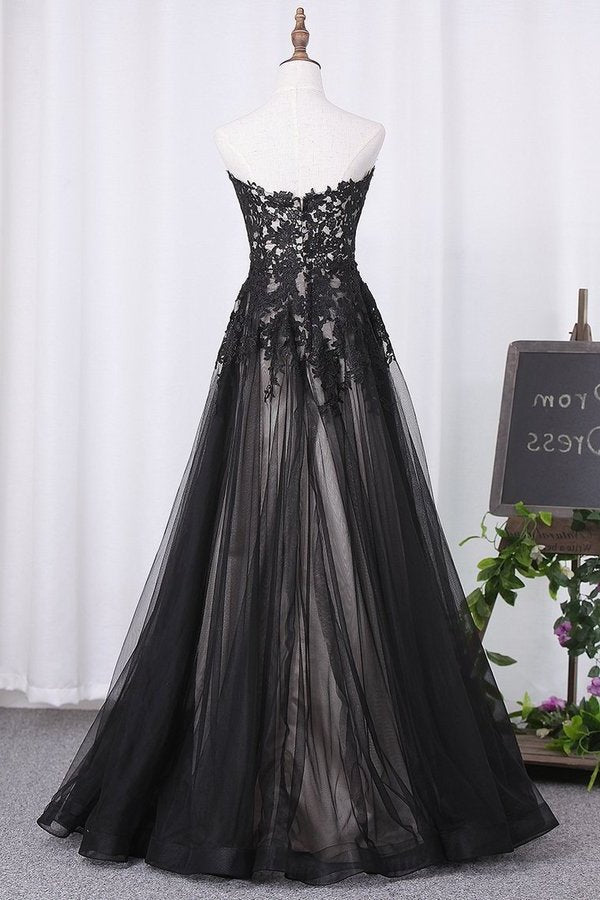 2020 Sweetheart A Line Black Prom Dresses Tulle With PQ8Y1RXJ
