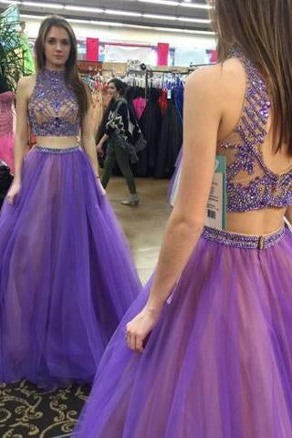 Stylish Two Piece High Neck Floor-Length Prom Dress with Beading Open Back