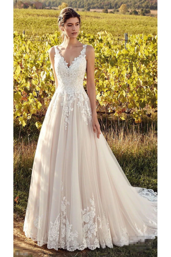 Elegant Sleeveless V Neck Tulle Wedding Dresses With Lace Appliques A Line PX9ZDAFD