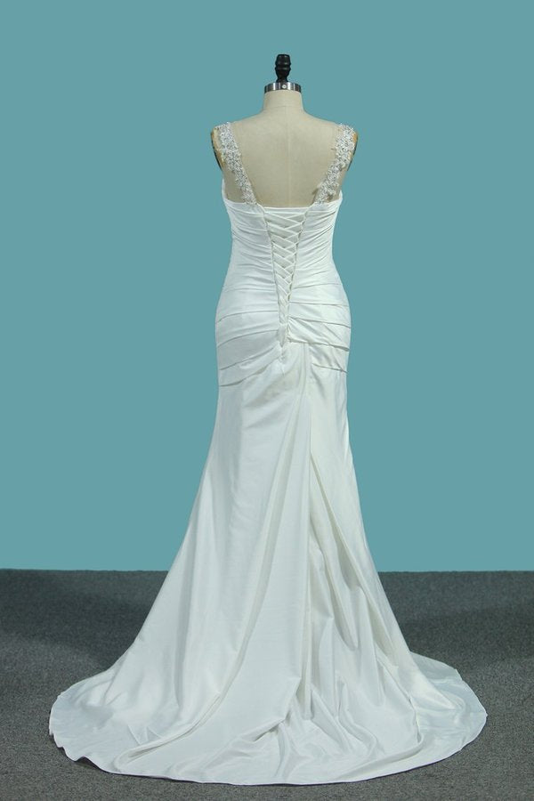 2020 Stretch Satin Wedding Dresses Mermaid With Beads PLQK5YJ1
