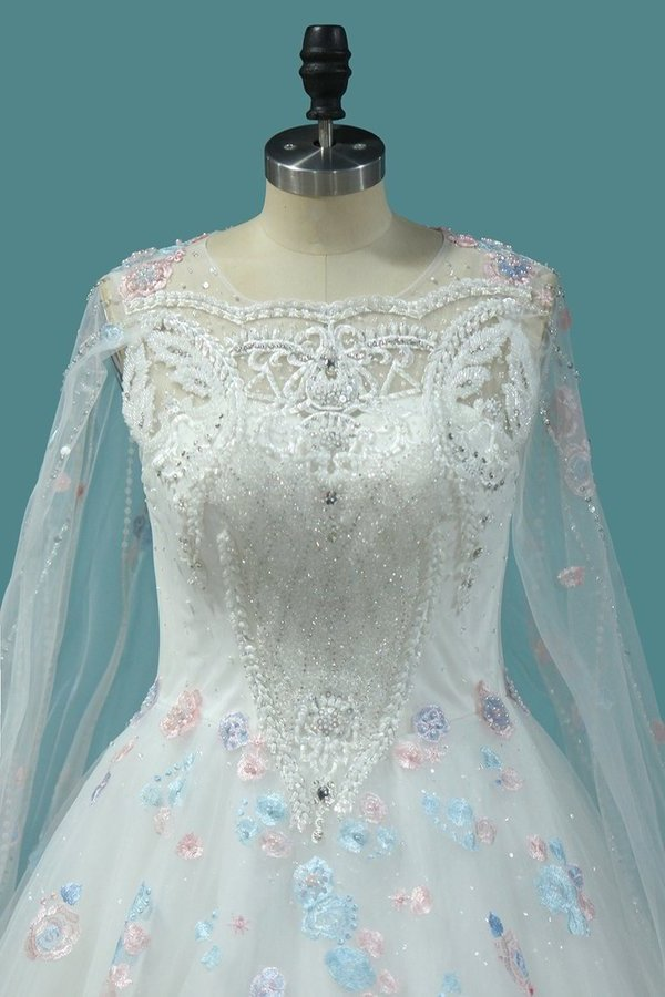 Ball Gown Scoop Neck Wedding Dresses Lace Up With Appliques PMR69YG9