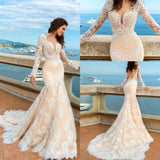 2020 White Lace Mermaid Deep V-Neck Backless Long Sleeve Wedding Dresses