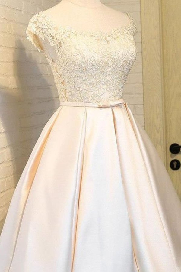 2020 Scoop Homecoming Dresses A Line Satin With P1ZCS739