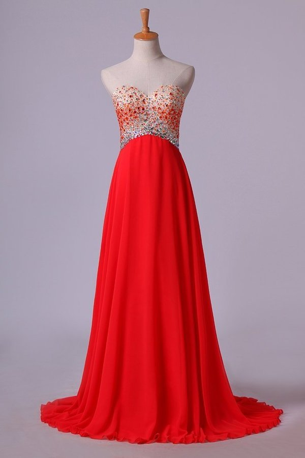 2020 Splendid Sweetheart Prom Dresses A Line Chiffon With Beads PQ9HMJ8A