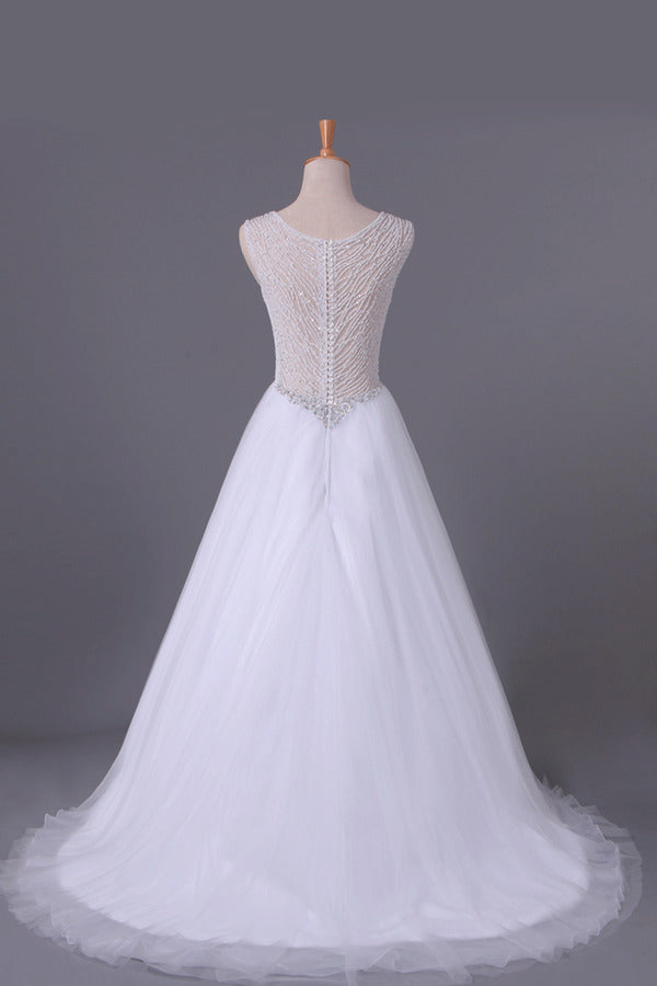 2020 V-Neck A Line Wedding Dresses Tulle Beaded Bodice P8PASBZZ