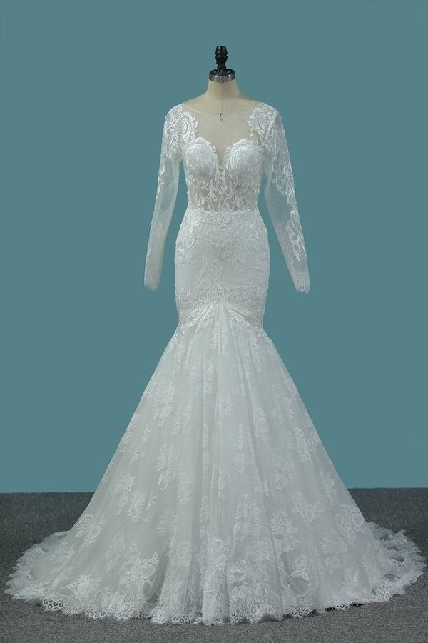 2020 Tulle Mermaid Wedding Dresses Scoop Long P7J3XK77