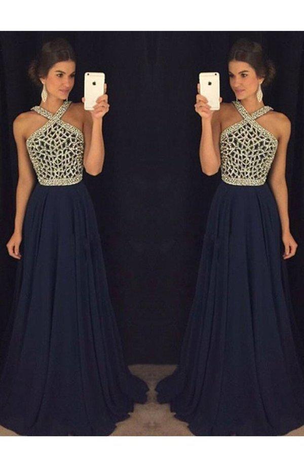 2020 V Neck Prom Dresses A Line Beaded Bodice Sweep P33ZBQ3H