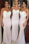 Lace Mermaid Backless Unique Sweetheart Spaghetti Straps Cheap Bridesmaid Dresses