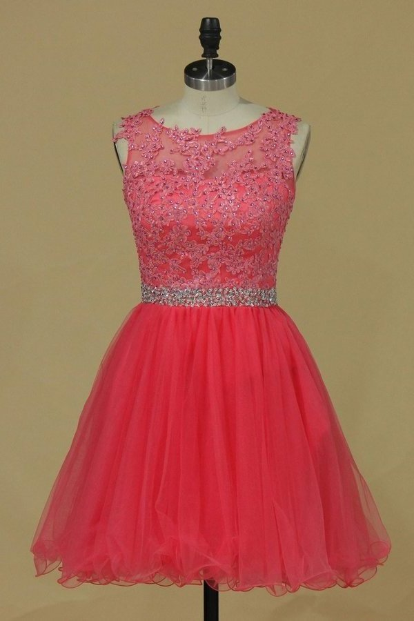 2020 Scoop Homecoming Dresses A Line Tulle With Applique PCQZLAYF