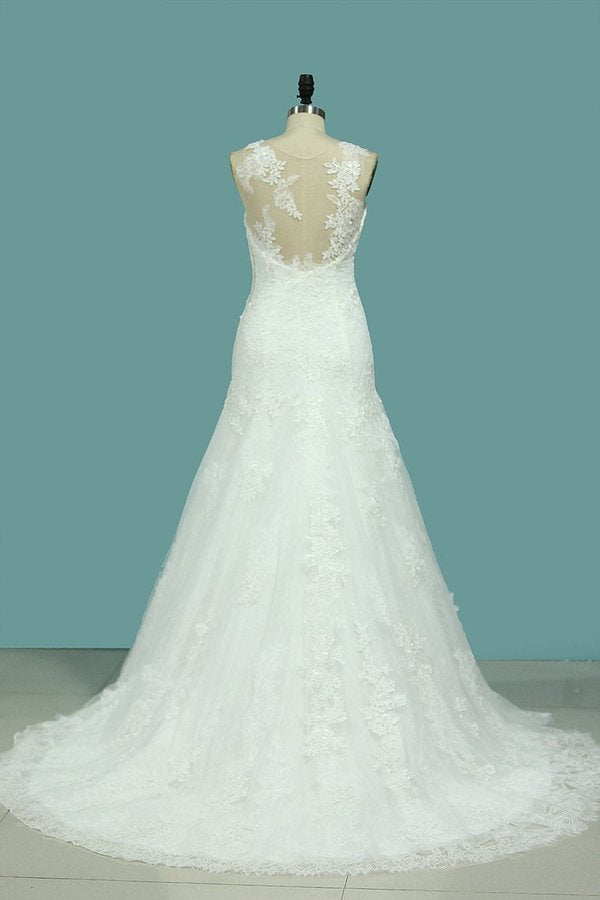 2020 Scoop Lace With Applique Wedding Dresses PSCD5SSR