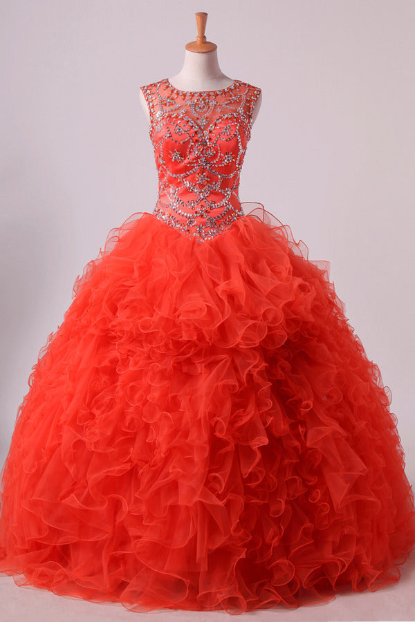 2020 Scoop Quinceanera Dresses Tulle Ball Gown Floor Length PDHRN1TY