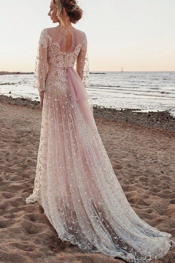 2020 Scoop Long Sleeves Lace Prom Dresses A PJYQMAXT
