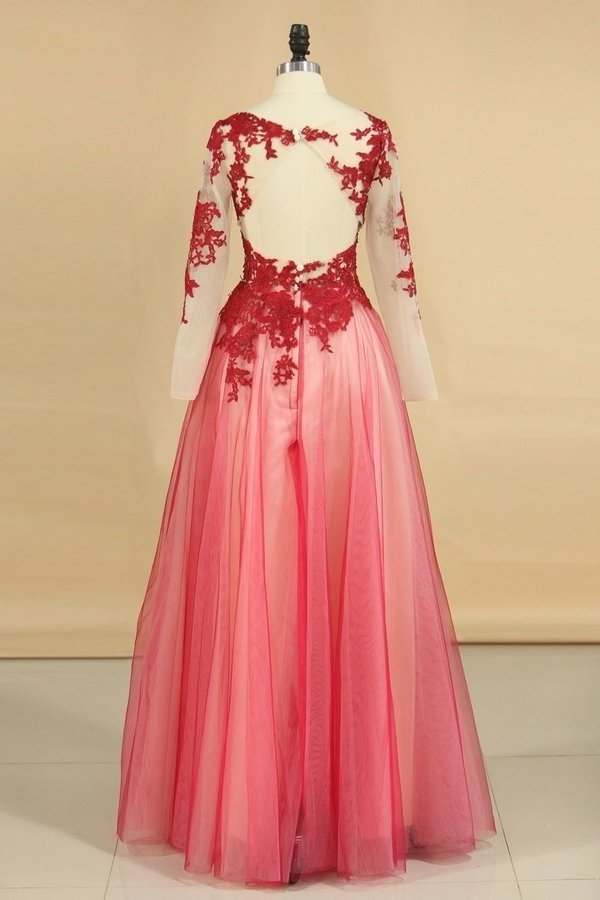 2020 See-Through Prom Dresses Scoop Long Sleeves Tulle With PQHF8ZZC