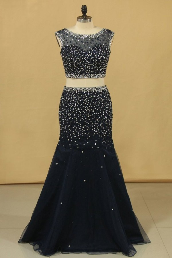 2020 Two Pieces Scoop Mermaid Beaded Bodice Prom Dresses Floor PH75R28H